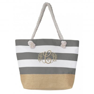 Monogrammed Tote Bag with Linen Bottom