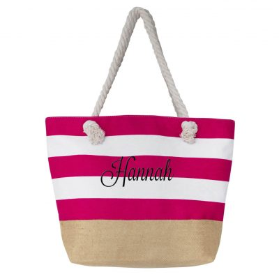 Burlap Bottom Tote Bag with Embroidered Name