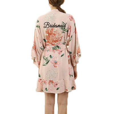 Floral Ruffle Bridesmaid Robe