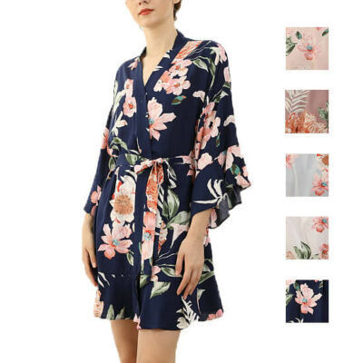 Ruffle Floral Satin Robe - Blank