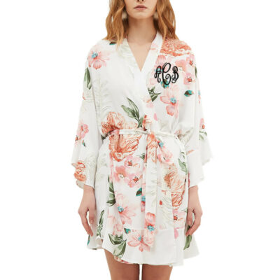 Monogrammed Floral Ruffle Satin Robe