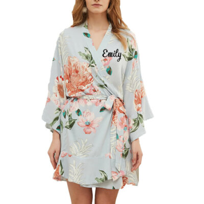 Floral Ruffle Robe with Name