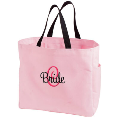 Personalized Bride Solid Tote Bag with Initial