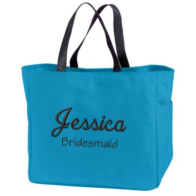 Personalized Bridal Party Solid Tote Bag with Name