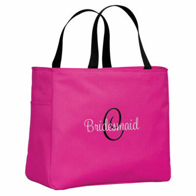 Personalized Bridal Party Solid Tote Bag with Initial