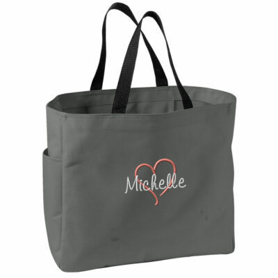Personalized Solid Tote Bag with Heart & Name