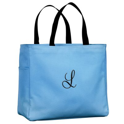 Personalized Solid Tote Bag with Initial