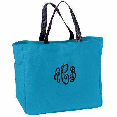 Tote Bag with Embroidered Monogram