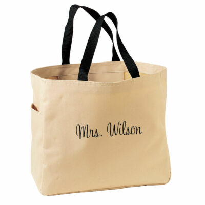 "Personalized ""Mrs."" Solid Tote Bag"