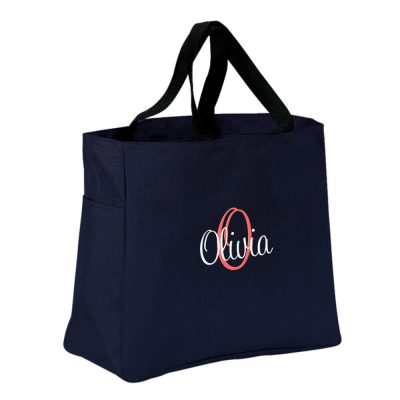 Personalized Solid Tote Bag with Name & Initial