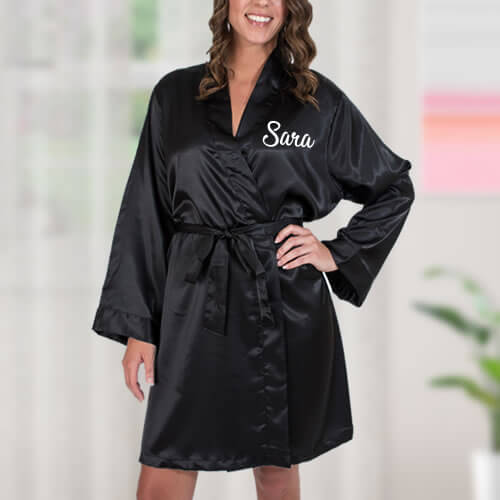 Satin Bridal Party Robe with Name