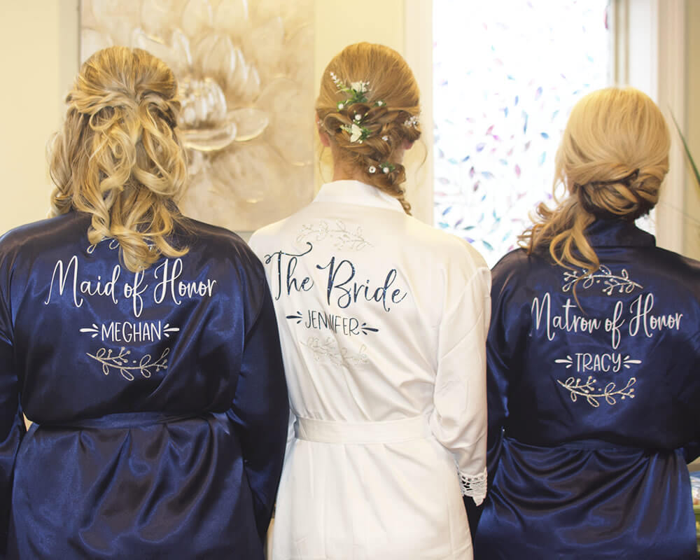 Navy Satin Bridal Party Robes