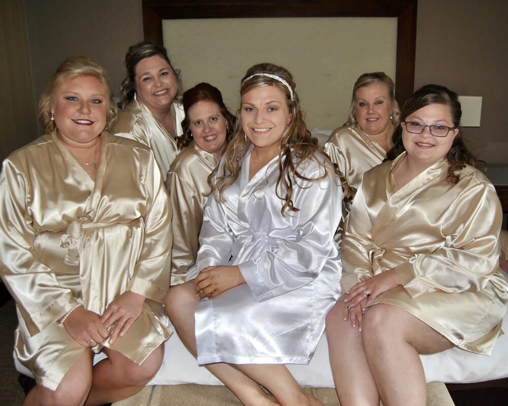 Champagne Satin Bridal Party Robes