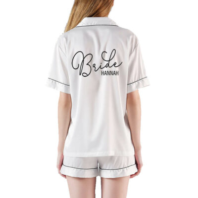 Button-up Bride Pajama Set with Name