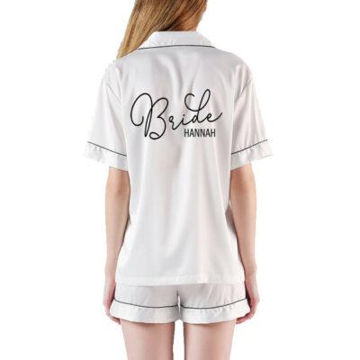 Button-up Bride Pajama Set with Name