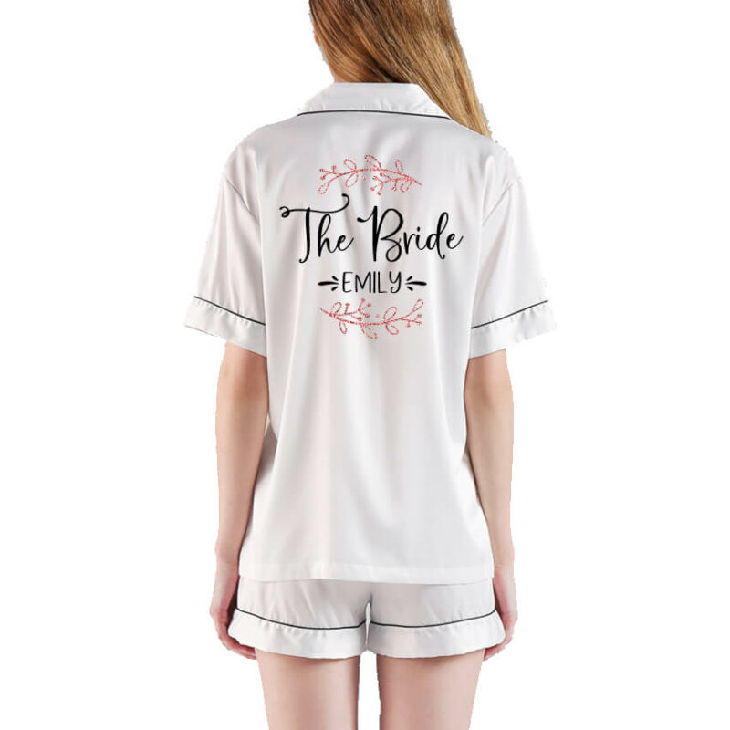 """""""The Bride"""" Button-up Pajama Set with Name & Branches"""