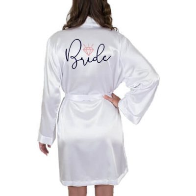 Bride Satin Robe with Diamond