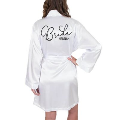 Satin Bride Robe with Name