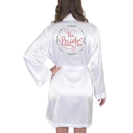 """""""The Bride"""" Satin Robe with Wreath"""