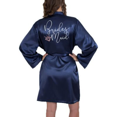Bridesmaid Satin Robe with Diamond