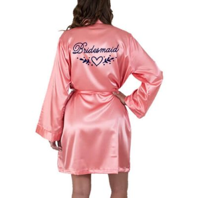 Bridesmaid Satin Robe with Heart Laurel