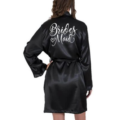 Bridesmaid Satin Robe with Heart