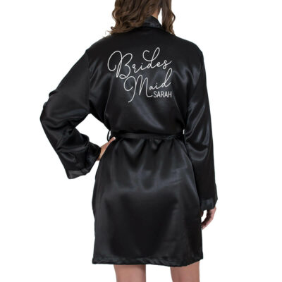 Satin Bridesmaid Robe with Name