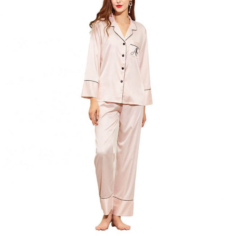 Button-up Bridal Party Pajama Pant Set with Initial
