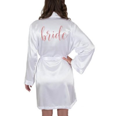 Glitter Satin Bride Robe - Swirl
