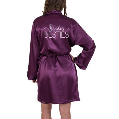 """Bride's Besties"" Satin Robe with Swashes"