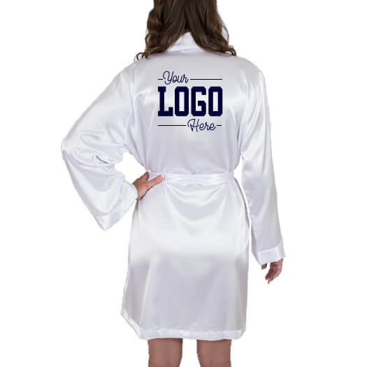 Satin Bridal Robe with Custom Wedding Logo - 1 Color
