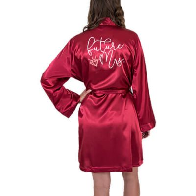 """Future Mrs."" Satin Robe with Diamond"