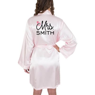 "Personalized ""Mrs."" Satin Bride Robe with Heart - Embroidered"
