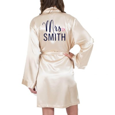 """Mrs."" Satin Robe - Modern Script"