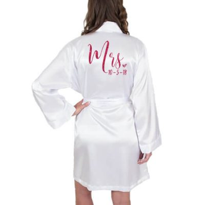 "Personalized ""Mrs."" Satin Bride Robe with Date - Embroidered"