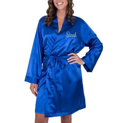 Personalized Satin Bridal Party Robe with Name & Heart - Embroidered