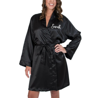 Bridal Party Satin Robe with Name