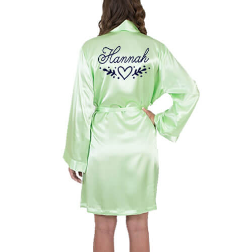 Satin Robe with Name & Heart Laurel