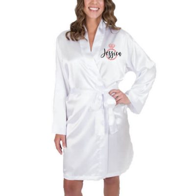 Bridal Party Satin Robe with Name & Ring