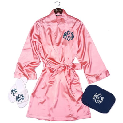 Monogrammed Satin Robe Set