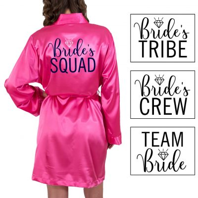 """Bride's Entourage"" Satin Robe with Swashes"