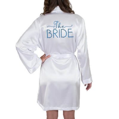 """The Bride"" Satin Robe with Swashes"
