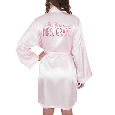 """The Future Mrs."" Satin Robe with Swashes"