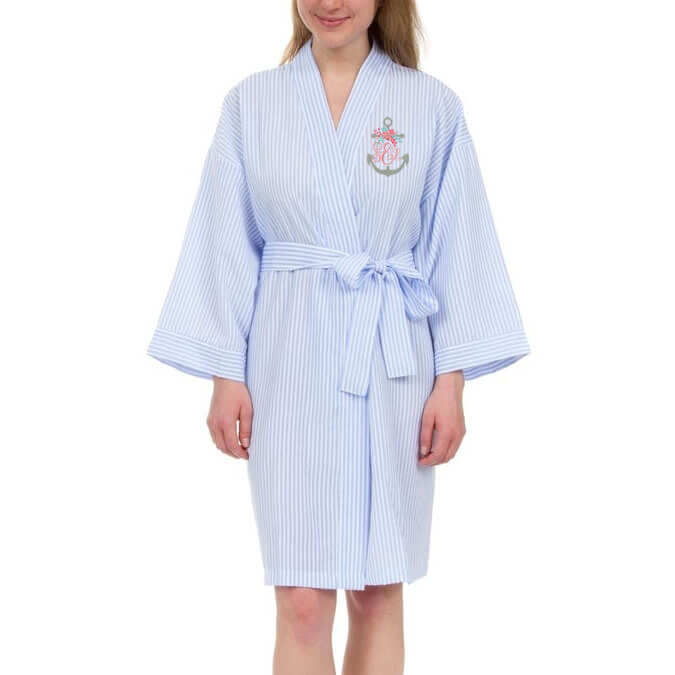 Personalized Seersucker Bridal Party Robe With Anchor Monogram
