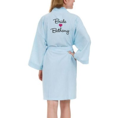 Personalized Seersucker Bride Robe with Name & Heart - Back
