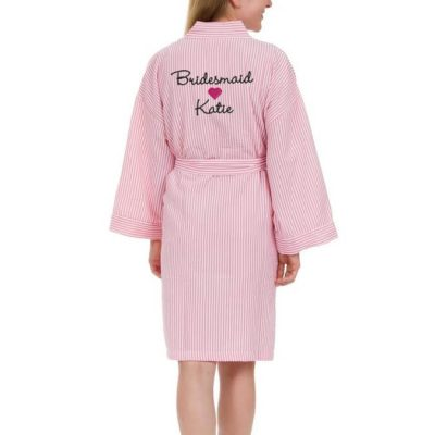Personalized Seersucker Bridal Party Robe with Name & Heart - Back