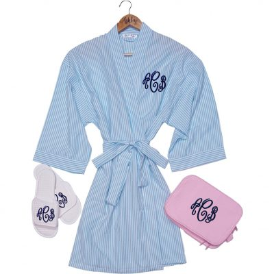 Monogrammed Seersucker Robe Set