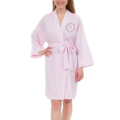 Personalized Seersucker Bridal Party Robe with Initial