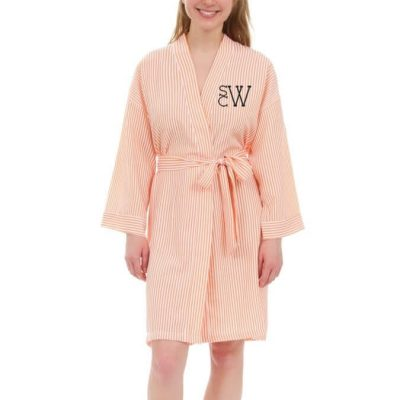 Personalized Seersucker Bridal Party Robe with Modern Monogram