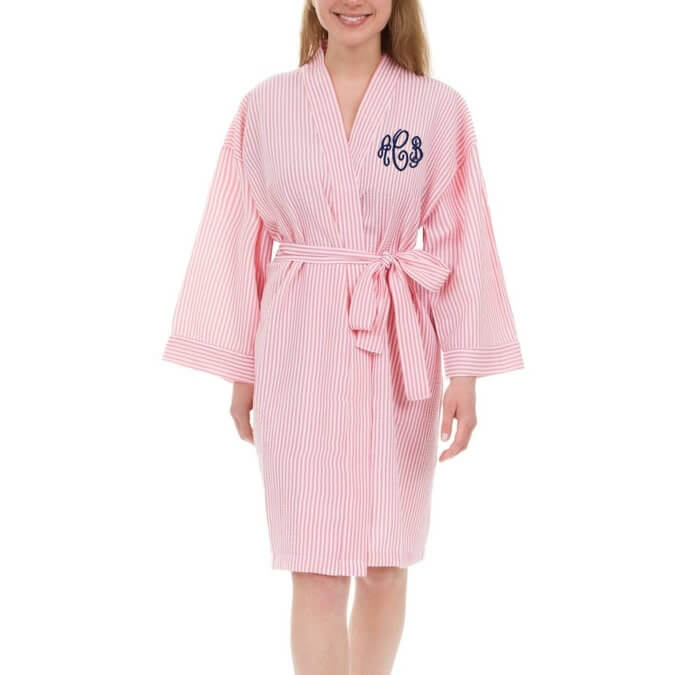 monogrammed seersucker bridal party robe